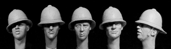 5 heads with WW1 to WW2 British tropical/ceremonial helmets