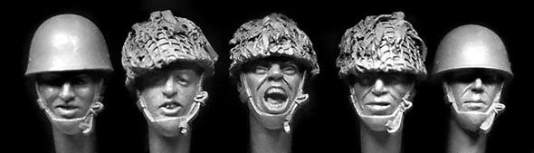 5 heads, British WW1 Brodie type steel helmets