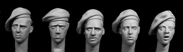 5 heads, British late WW2 berets with option for Polish paratroops