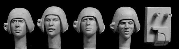 4 heads, UK 1970s Dan Dare' tank helmets/mic jig