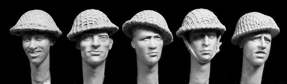 5 heads, WW2 British helmets with coarse netting
