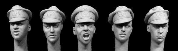 5 heads WW2 German Army officers crusher caps