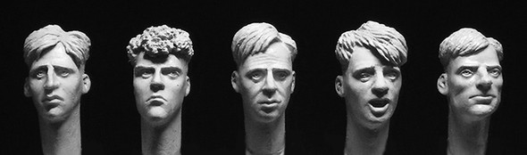 5 heads with 1940/50s short back and sides haircuts