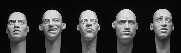 5 Caucasian Heads with formed eyes