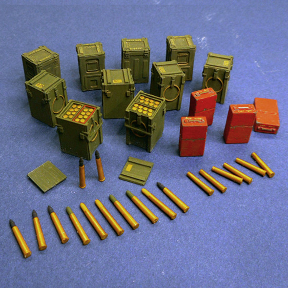 2 Pdr Ammo boxes and shells