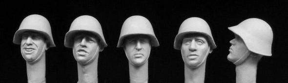 5 heads, wearing Swiss Army helmets, WW2