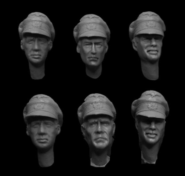 Wehrmacht Crushed Officer cap heads