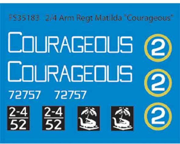 "2/4 Arm Regt Matilda ""Courageous""  (Dry Transfers)"