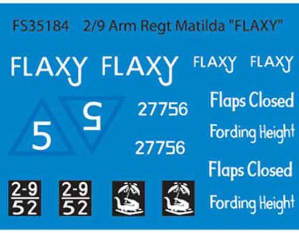 """2/9 Arm Regt Matilda """"Flaxy""""  (Dry Transfers)"""