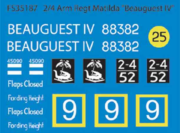 "2/4 Arm Regt CS Matilda ""Beauguest IV""  (Dry Transfers)"