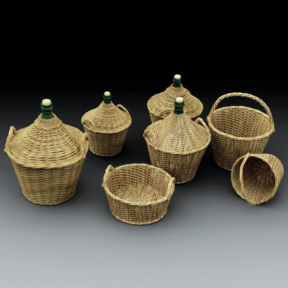Demijohns and wicker baskets