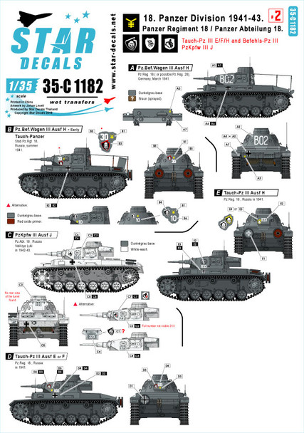 18. Panzer Division # 2. 1941-43. Tauch-Pz III E, F, H, Befehls-Pz III H, PzKpfw III H.