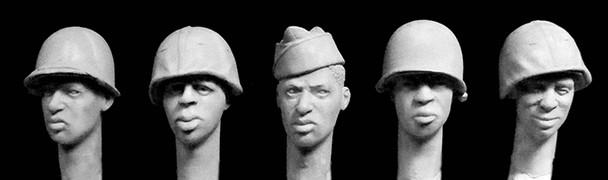 5 heads, Black US soldiers 4 xM1 helmets, overseas cap