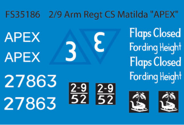 "2/9 Arm Regt CS Matilda ""APEX""  (Dry Transfers)"