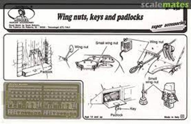 Wing nuts, keys and padlocks