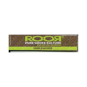 Roor King Size Cigarette Rolling Papers Unbleached 50 Leaves Per Pack