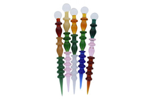 "6"" Glass Multi Colored Wand Dab Tool"