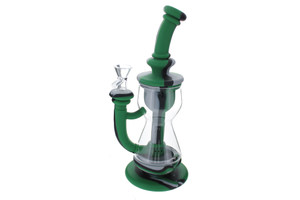 """10"""" Silicone Incycler Dab Rig Water Pipe - Army Green Grey Black"""