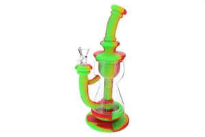 """10"""" Silicone Incycler Dab Rig Water Pipe - Rasta"""