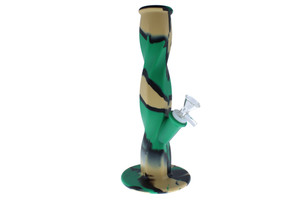 """11"""" Straight Neck Silicone Bong - Army Green, Black, & Tan"""