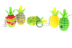 """3"""" Pineapple Silicon Keychain Hand Pipe With Glass Screen"""