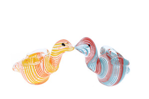 """4"""" Multi Colored Swirl Swan Tobacco Pipe"""