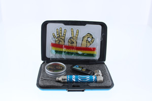 6 in 1 Tobacco Pipe Mini Kit with Hard Cover Carrying Travel Case - Teal
