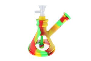 "6"" Silicone Glass Hybrid Beaker Bottom Water Pipe Rasta"