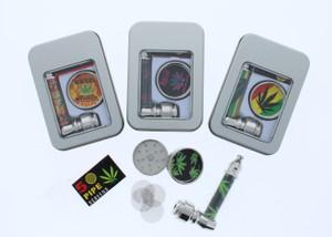 Metal Pipe and Mini Grinder Smoking Set