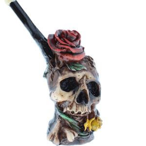 """4"""" Wood Finish Ceramic Hand Made Handheld Pipe Love Kills Skull"""