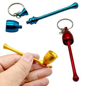Portable Mushroom Tobacco Smoking Pipe Aluminum Pocket Herb Pipes Metal Keychain