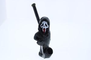 """4"""" Wood Finish Ceramic Hand Made Handheld Pipe Scream"""