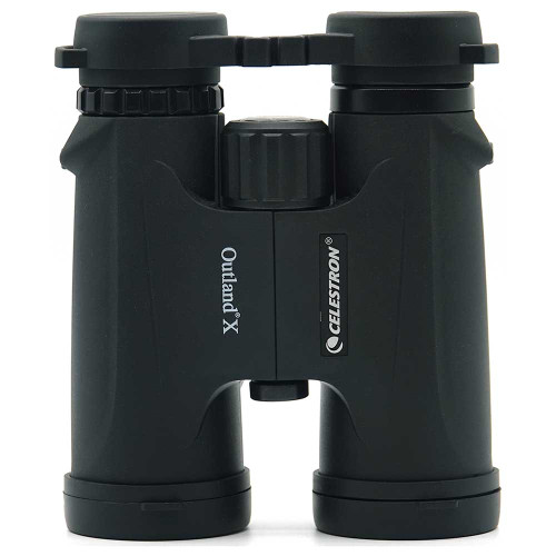 Celestron Outland X 10x42 with eyepiece covers front view