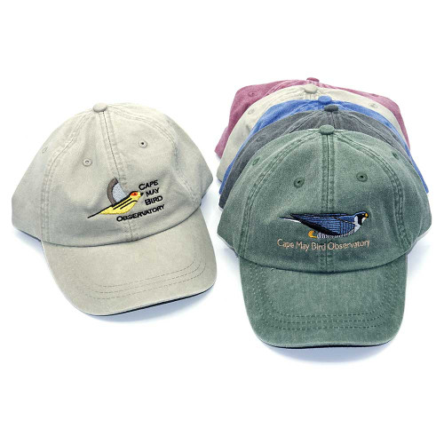CMBO Baseball Hats with Charley Harper's Cape May Warbler & Peregrine Falcon