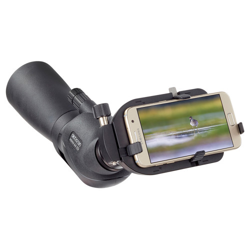 Opticron Universal Smartphone Mount attached to scope