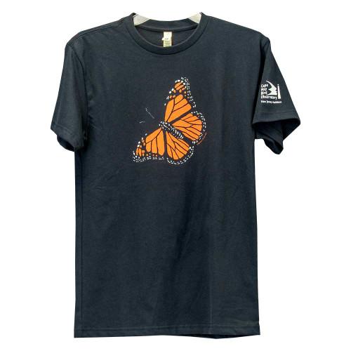 Women's Monarch butterfly black tee, front