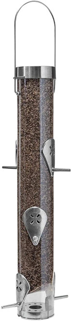 Droll Yankees Nyjer Seed Classic Finch Feeder, Ring Pull Advantage, 16 Inches, 6 Ports, Silver