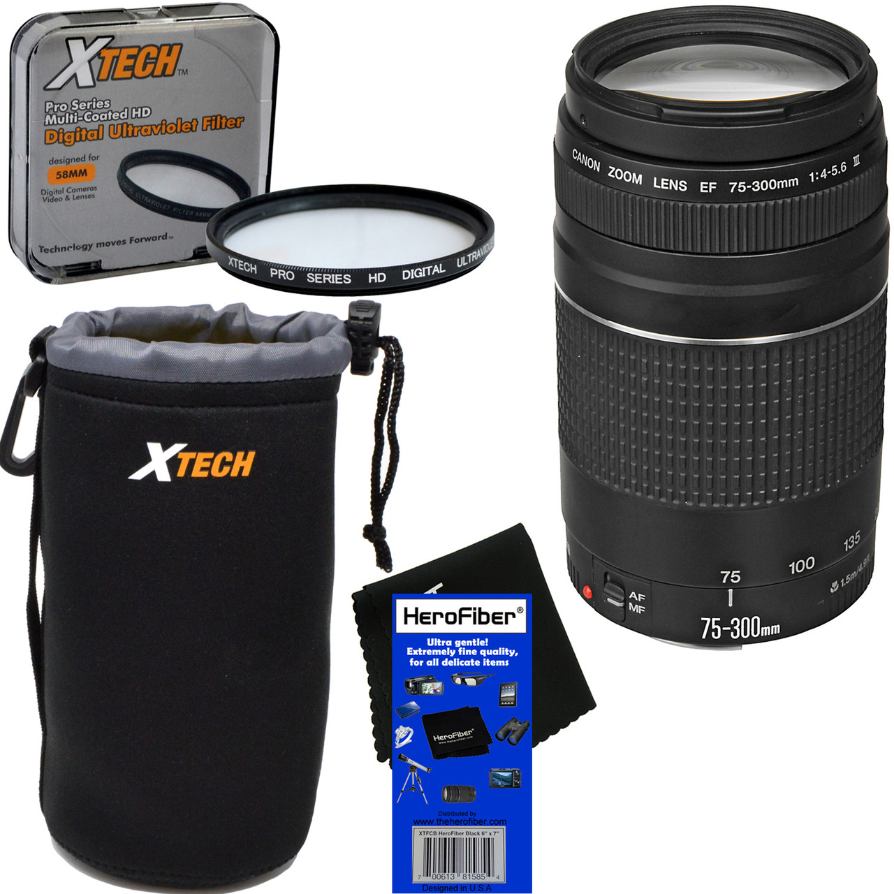 Canon EF 75-300mm f/4-5 6 III Telephoto Zoom Lens for EOS 7D, 60D, 70D, EOS  Rebel SL1, SL2, SL3, T1i, T2i, T3, T3i, T4i, T5, T5i, T6, T6i, T6s, T7,