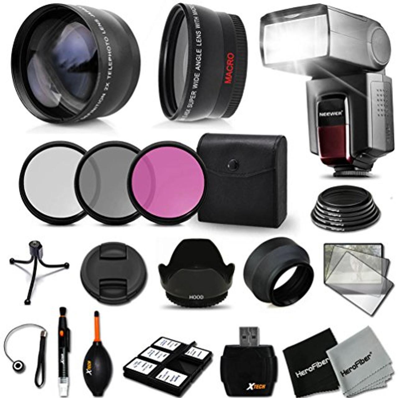 Flash Soft-Light Cover Tulip Lens Hood 58mm Macro Kit UV CPL ND 3pc Cleaning Kit Lens Pen Dust Blower