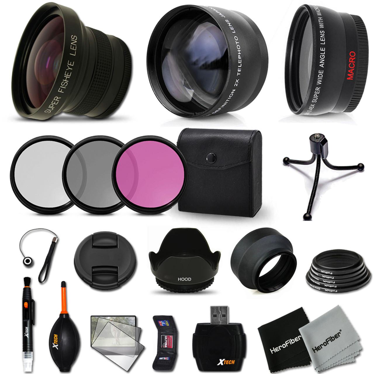 3 Piece Filter Kit for Nikon D5300 with Nikon 50mm 1.4 Lens Fibercloth Deluxe Lens Bundle Wide Angle DavisMAX 58mm Macro Close Up Kit 2X Telephoto Lenses