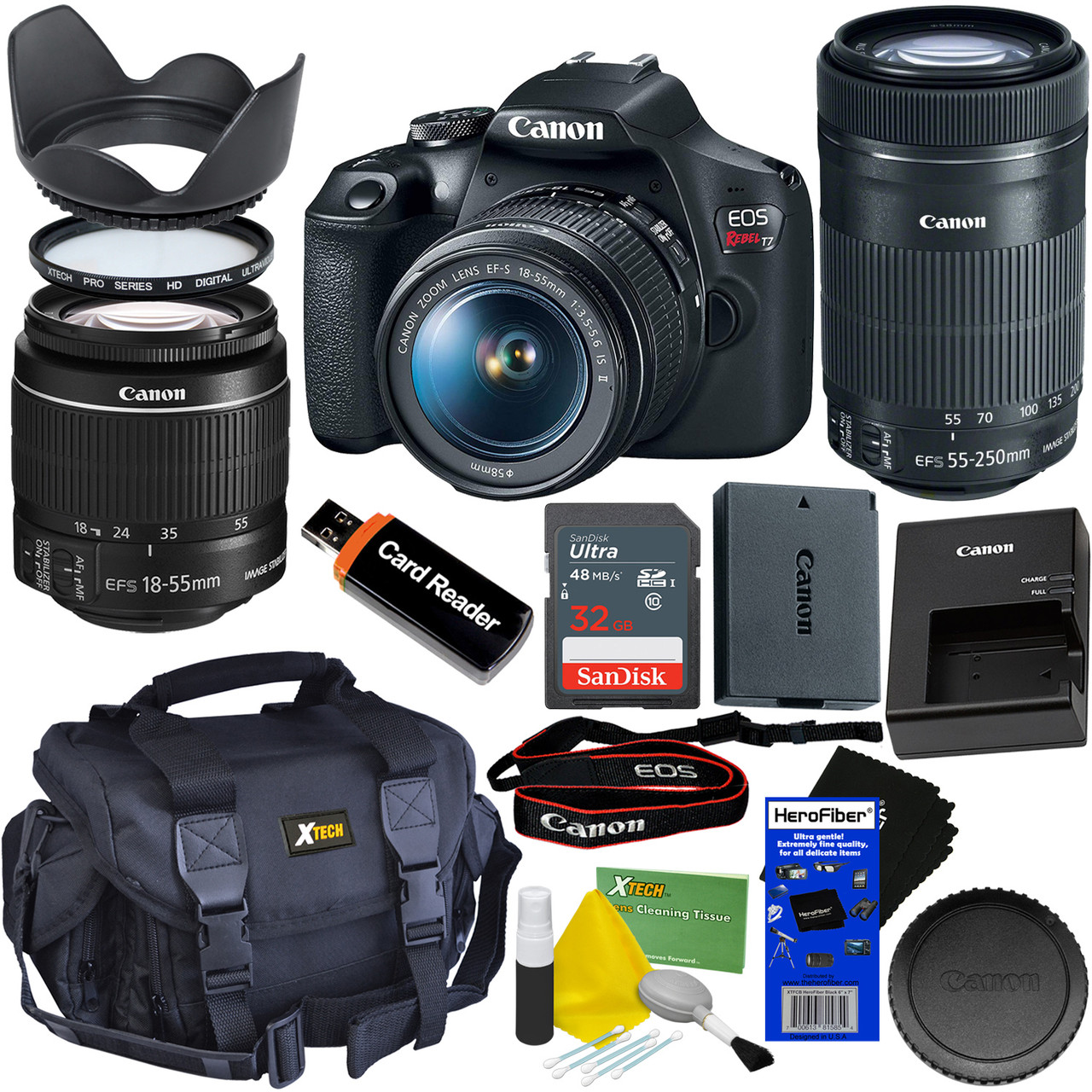 Canon Dslr Camera Eos Rebel T7 Bundle With 18 55mm Is Ii Lens Ef S 55 250mm F 4 5 6 Is Stm Zoom Lens Canon Battery Charger 32gb Accessory
