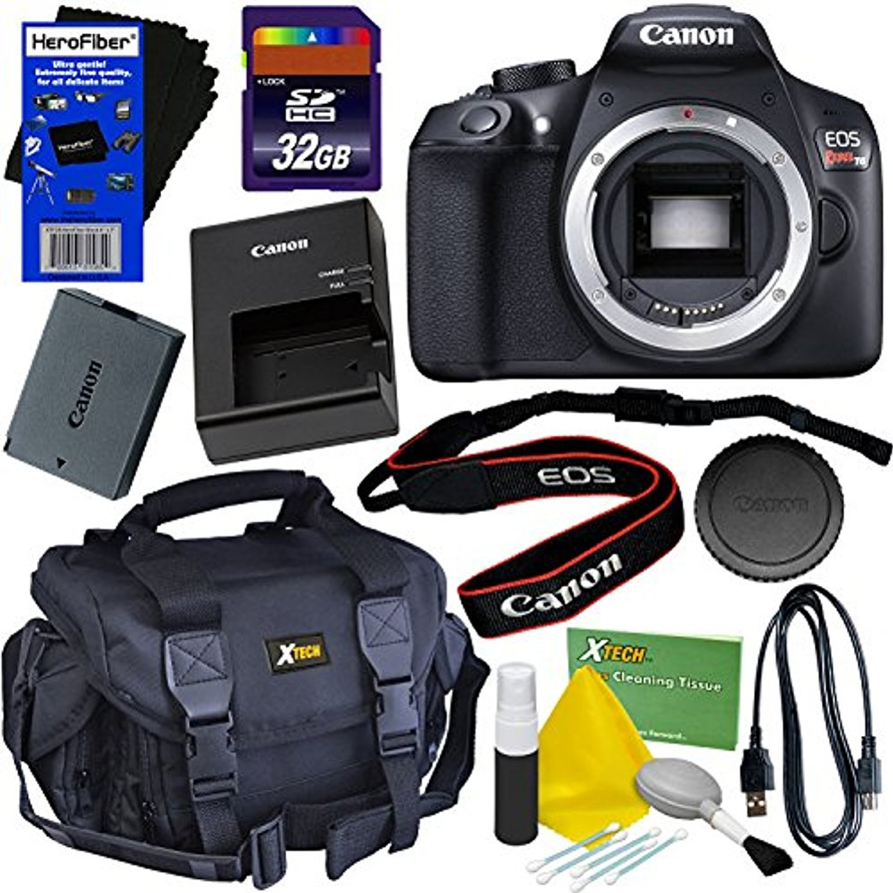 Canon Eos Rebel T6 Digital Slr Camera Body Only 32gb Accessory Kit W Herofiber Ultra Gentle Cleaning Cloth