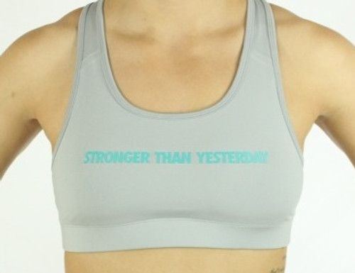 'STRONGER THAN YESTERDAY' Grey Sports Bra