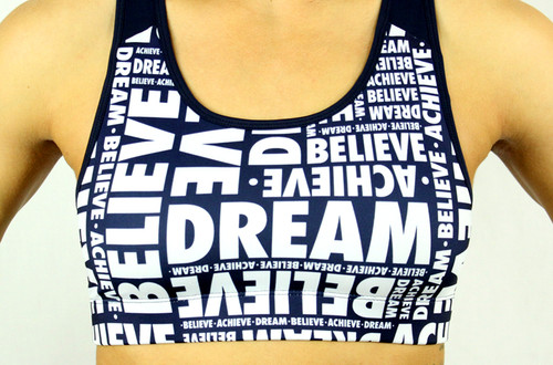 'DREAM BELIEVE ACHIEVE' Patterned Bra