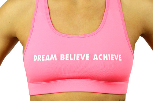 'DREAM BELIEVE ACHIEVE'   Sports Bra