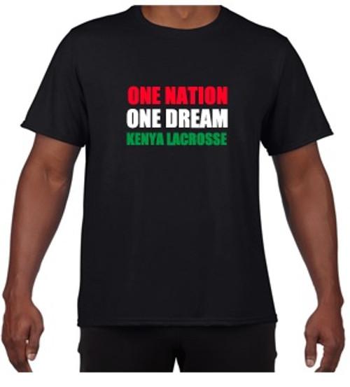 'KENYA LACROSSE' Unisex Black T-shirt