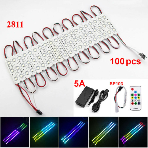 50 ft RGB 2811 Module Light 12V Tape 100 Pcs Store Front Window Sign Lamp Kit