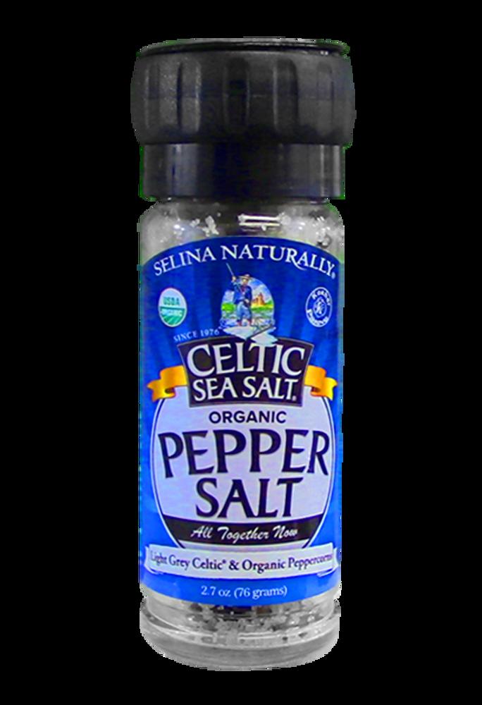 Selina Organic Pepper Salt Grinder with Light grey Celtic Sea Salt