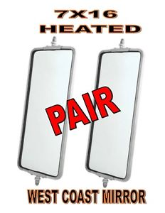 "Stainless Steel (HEATED) West Coast Mirror - 7"" x 16"" (PAIR)"