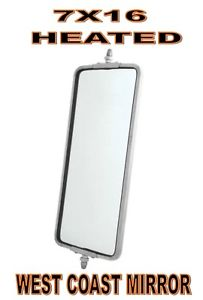 "Stainless Steel (HEATED) West Coast Mirror - 7"" x 16"" (PAIR)"
